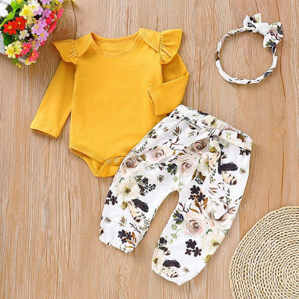 Cap Sleeves Top And Floral Pant Set With Headband