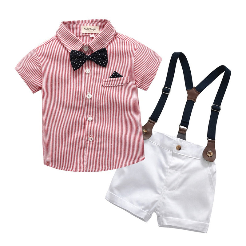Pink Striped Shirt With Bow And White Suspender Shorts