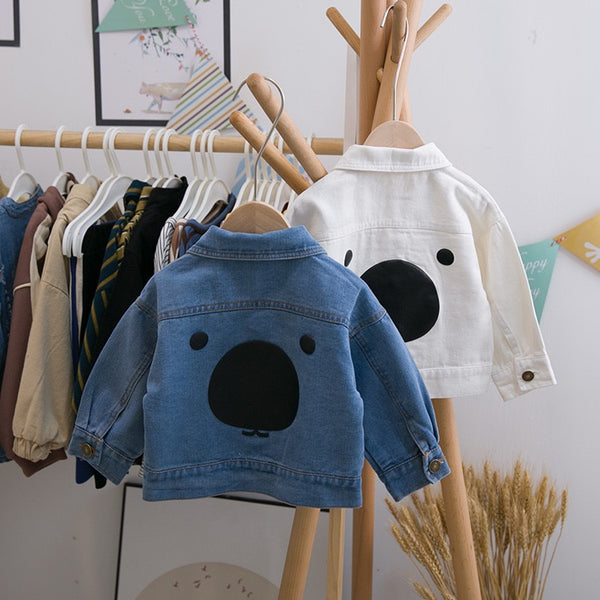 Denim Jacket With Bear Made On Back