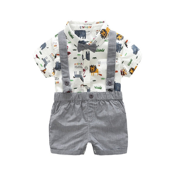 Jungle Theme Bow Romper And Suspender Shorts Set