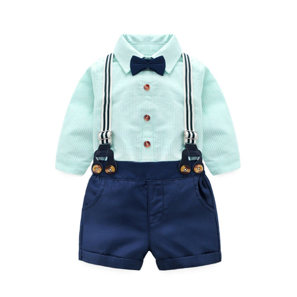 Bow Striped Romper Shirt With Suspender Shorts