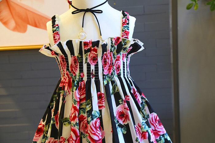 Flower Printed Strap Dress