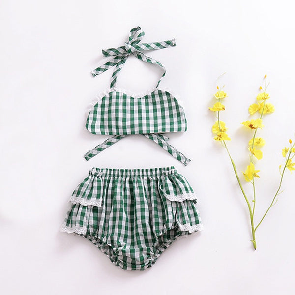 Plaided Ruffles Swimsuit