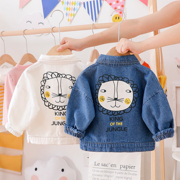Denim Jacket With Lion Made On Back