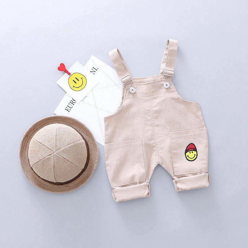 Smiley Dungaree Set