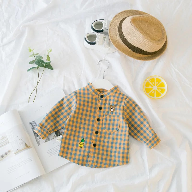 Bear Pineapple Checks Baby Shirt