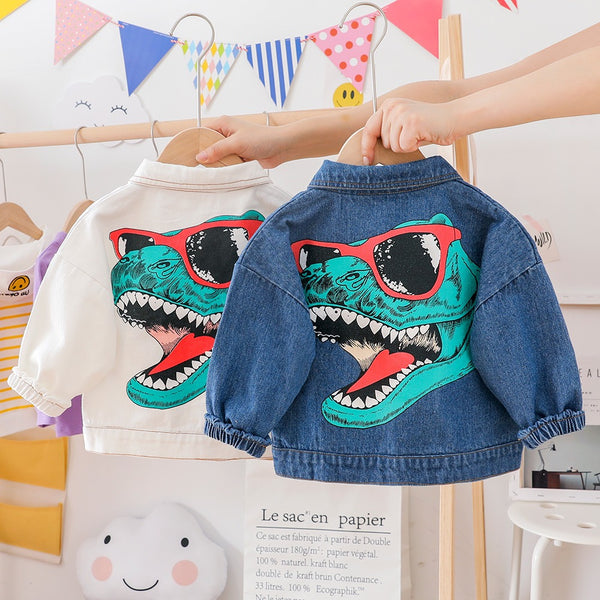 Denim Jacket With Dinosaur On Back