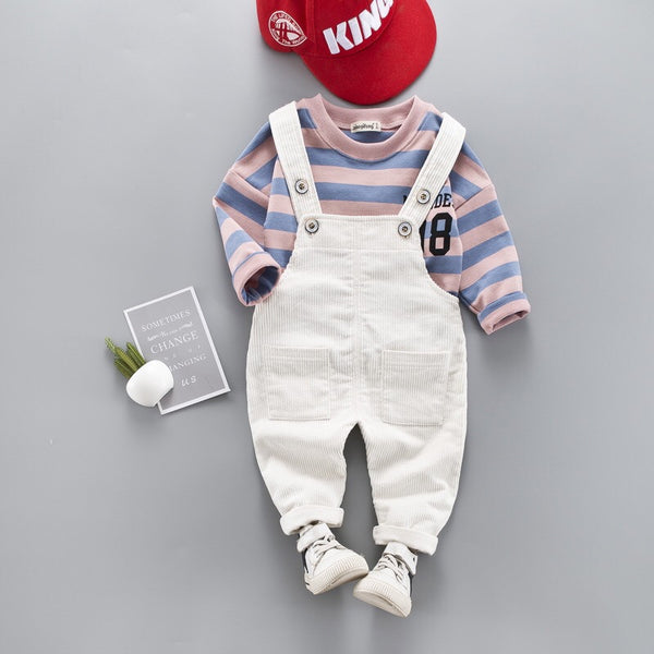 Striped T-Shirt Dungaree Set