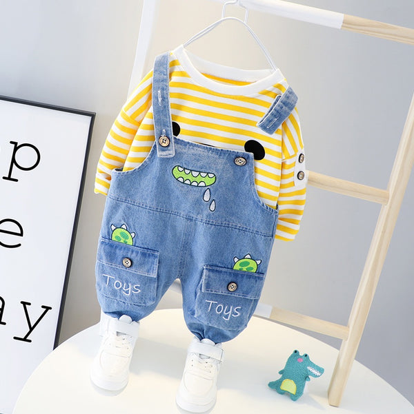 Monster Dungaree And Striped Tshirt Set