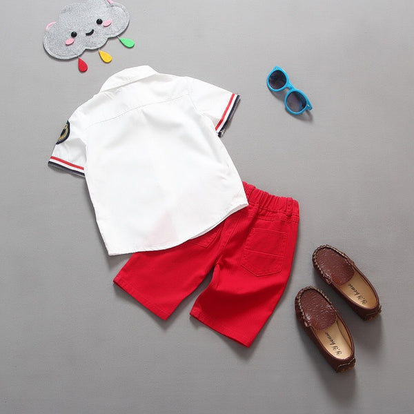 White Shirt And Red Rugged Shorts Set