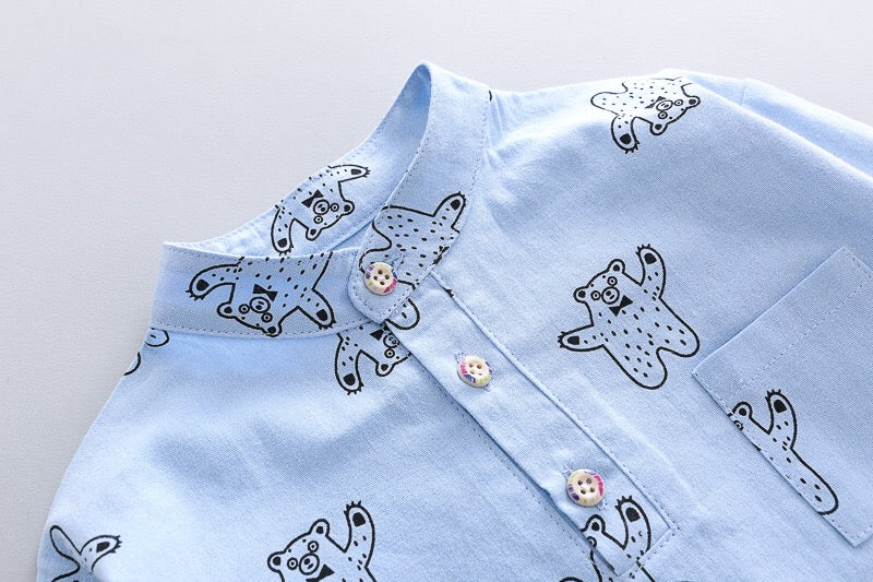 Polar Bear Shirt Dungaree Set
