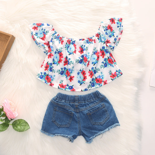 Floral Off Shoulder Top And Denim Shorts Set