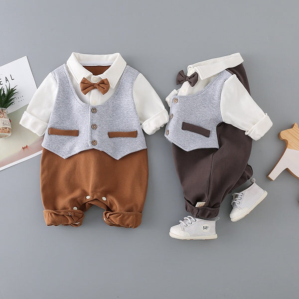Gentlemen Baby Romper with Bow