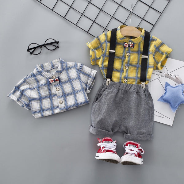 Checks Shirt with Suspender Set