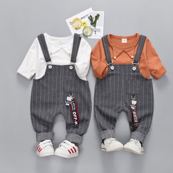 Striped Dungaree Set