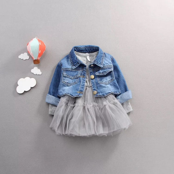 Dress With Short Denim Jacket For Baby Girls