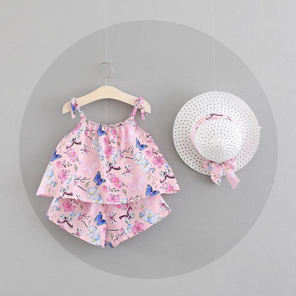 Pink Floral Summer Set With Hat