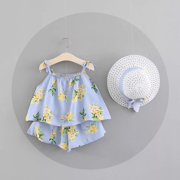 Floral Printed Summer Sets With Hat