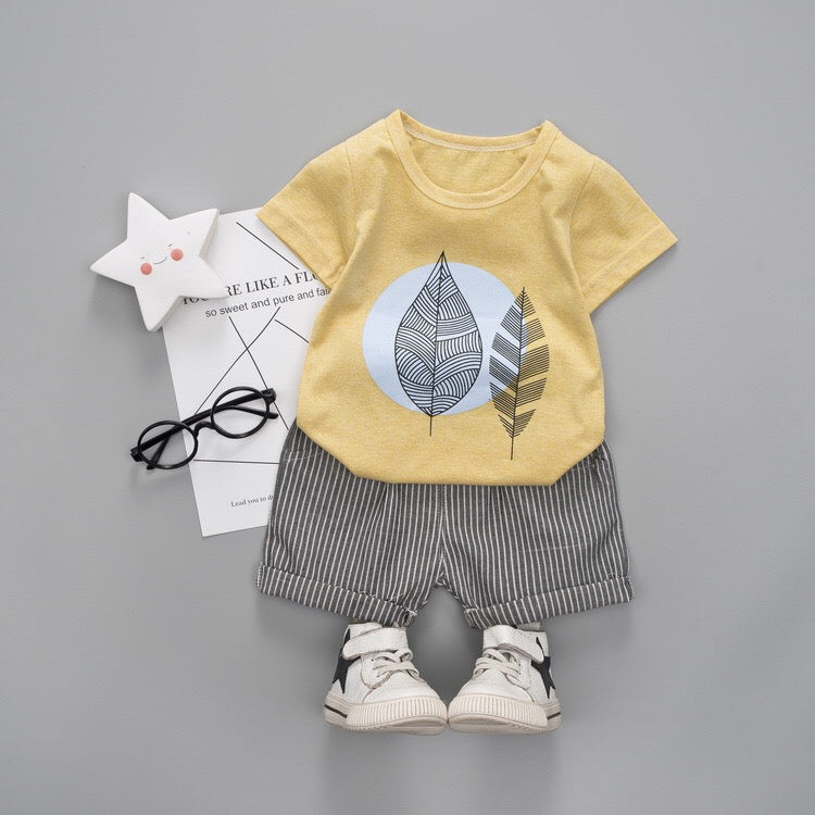 Leaf Printed Baby Summer Set