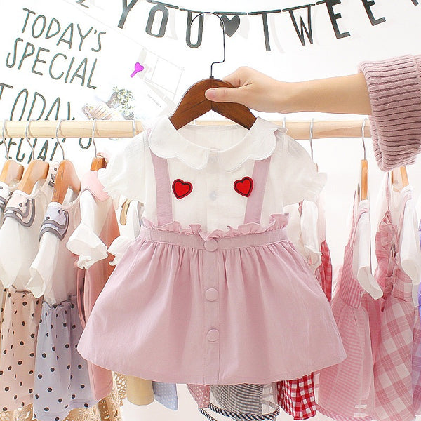 Heart Printed Doll Collar Pleated Dress