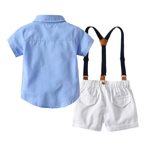 Blue Half Sleeves Bow Shirt With White Suspender Shorts