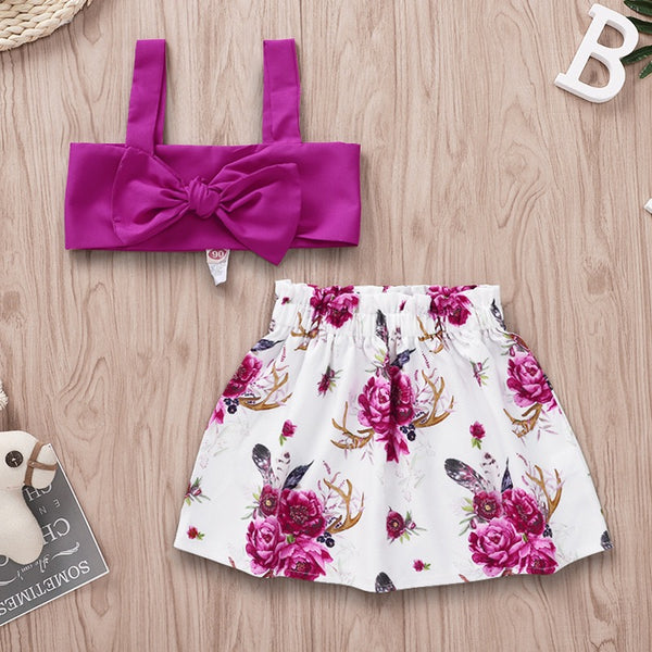 Bow Top And Floral Shorts Set