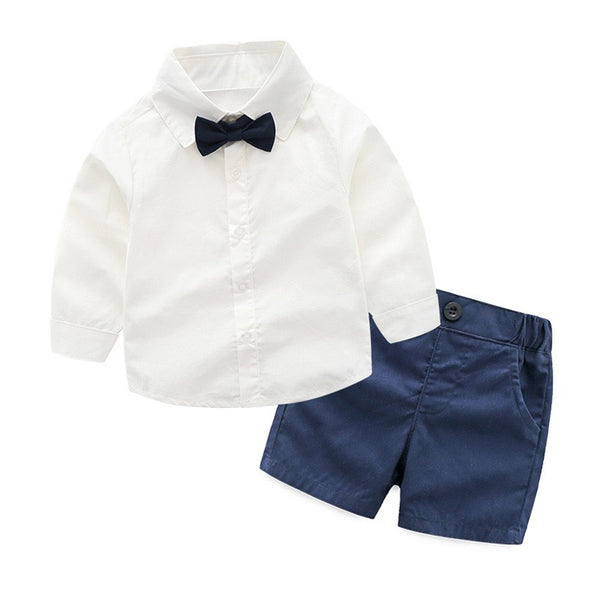 White Bow Shirt And Blue Shorts Set