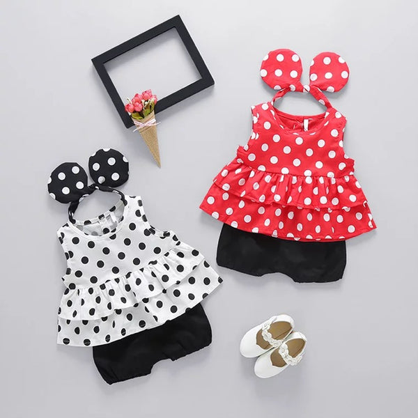 Polka Dotted Baby Girl Set With Minnie Headband