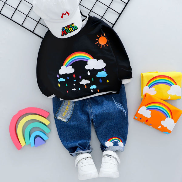 Rainbow Printed Sweatshirt And Rugged Denim Set