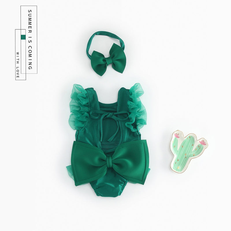 Green Ruffle Swimsuit With Headband
