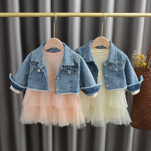 Flared Dress And Wings Denim Jacket