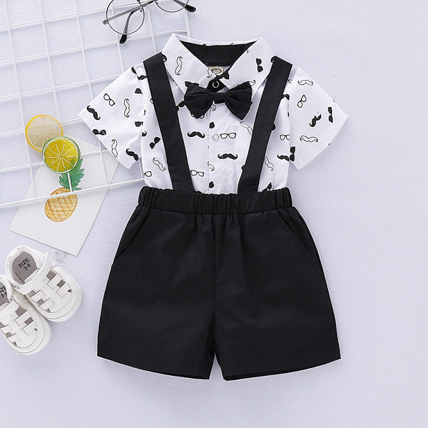 Mustache Printed Bow Romper And Suspender Shorts Set