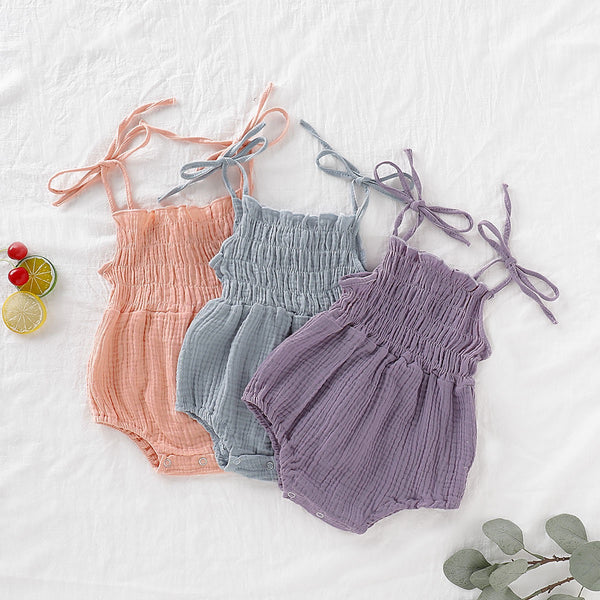 Bow Strap Pleated Rompers