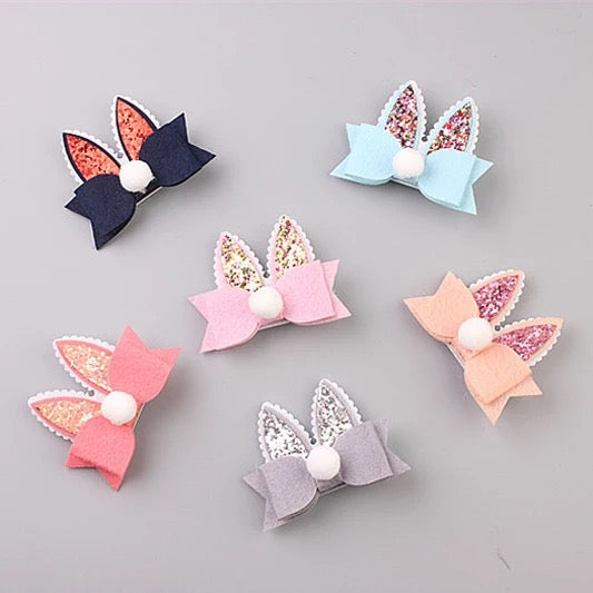 Bow Rabbit Ear 6 Hairpins Set