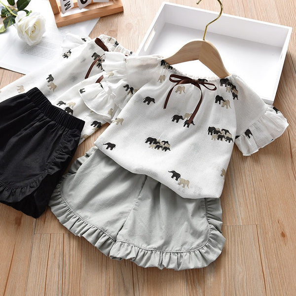 Elephant Printed Top And Shorts Set