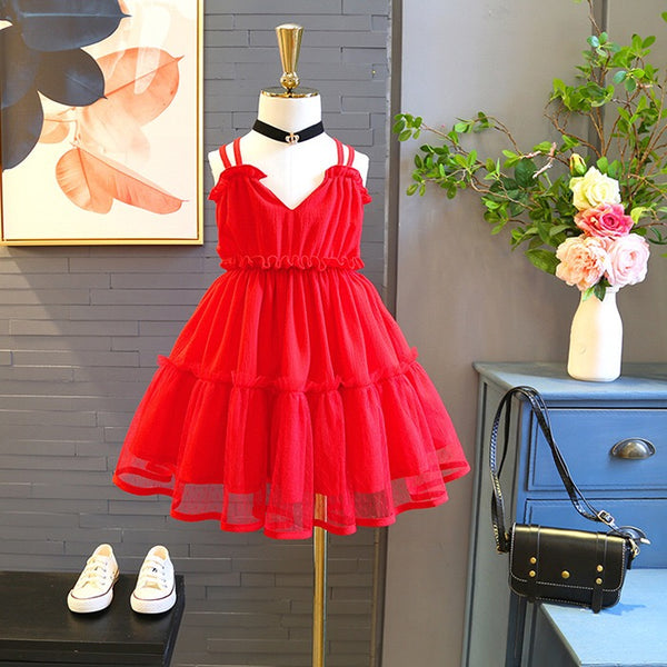 Red Strap Ruffles Dress