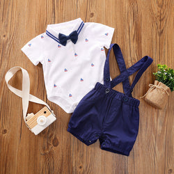 Boat Printed Bow Romper And Suspender Shorts Set