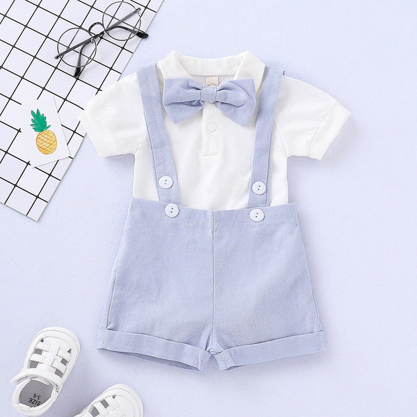 White Bow Romper And Suspender Shorts Set