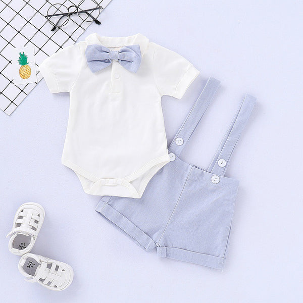 White Bow Romper And Suspender Shorts Set sale