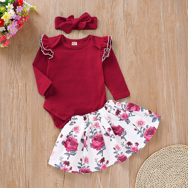 Cap Sleeves Romper And Floral Skirt Set