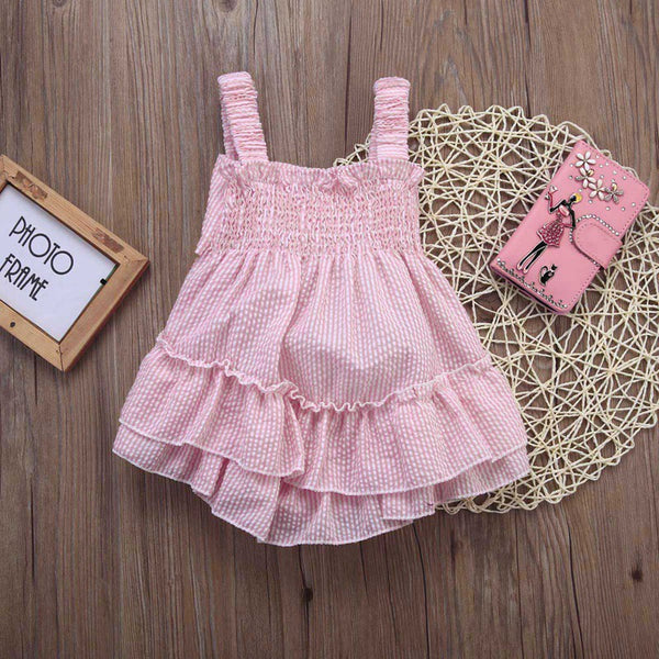 Pink Striped Bow Romper