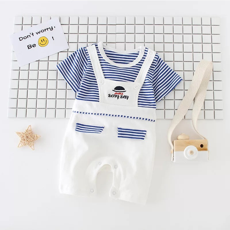 Striped Dungaree Style Romper
