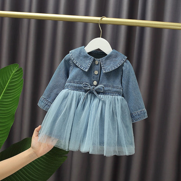 Doll Collar Half Denim Dress