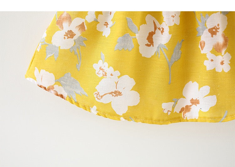 Floral Printed Bow Strap Summer Dress With Hat