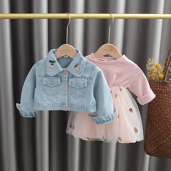 Strawberry Dress With Denim Jacket
