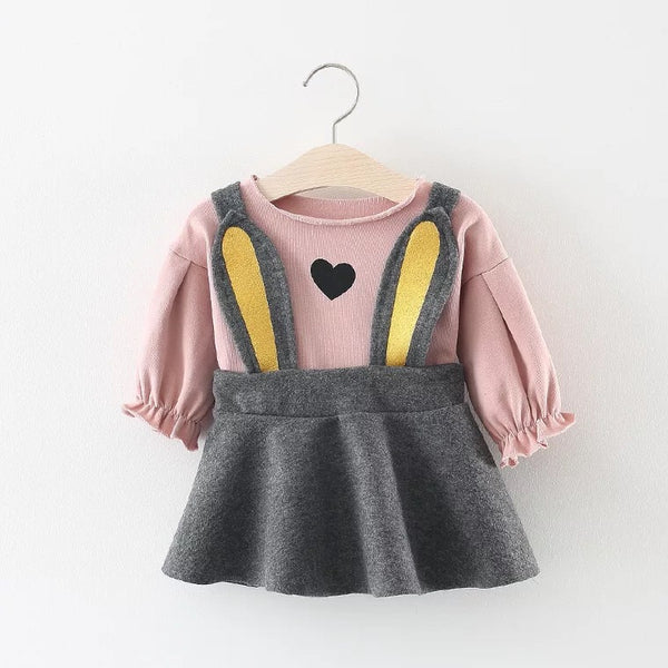 Rabbit Skirt Pullover And Full Sleeves Tshirt Set