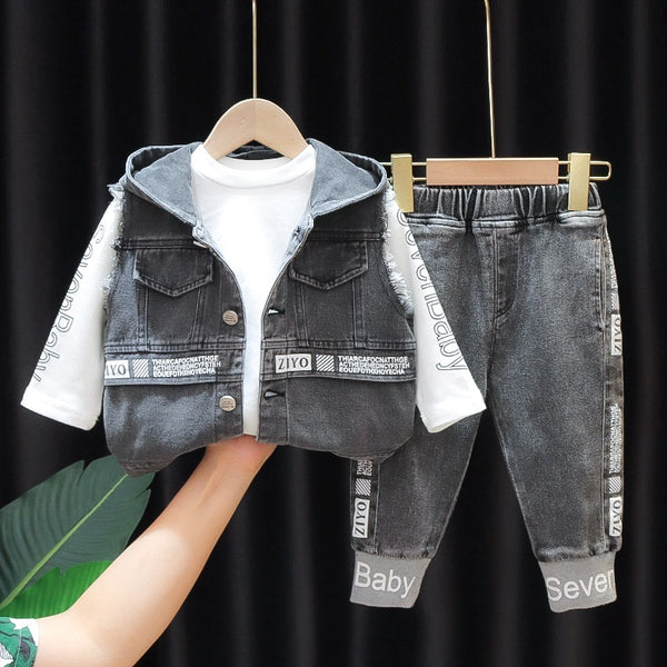 Denim Hooded Jacket With Tshirt And Joggers Set