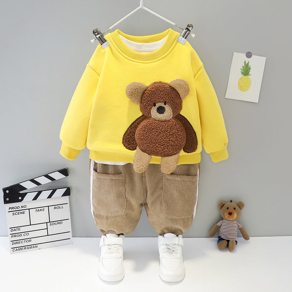 Bear Made Sweatshirt And Corduroy Pant Winter Set