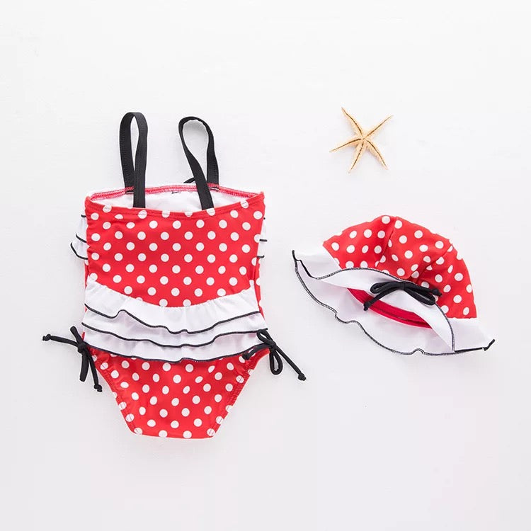 Red Polka Dotted Ruffle Swimsuit For Baby Girls