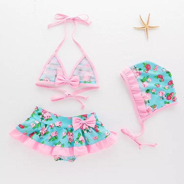 Floral Print 3 Piece Baby Swimsuit